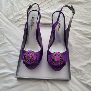 Wild Rose Satin Purple Peep Toe Pumps